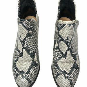 Lucky Brand Womens Black Snake Skin Ankle Boots 8